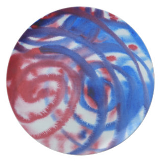 Red, Blue Swirls on Light Gray. Abstract Pattern. Melamine Plate