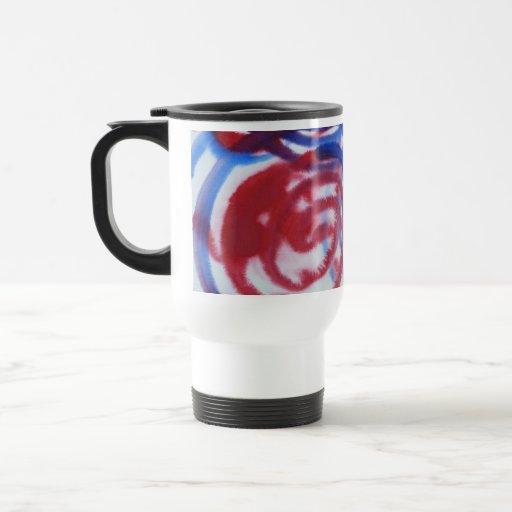 Red, Blue Swirls on Light Gray. Abstract Pattern. 15 Oz Stainless Steel Travel Mug