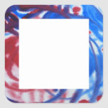Red, Blue Swirls on Light Gray. Abstract Pattern. Square Sticker