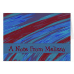 Red Blue Swish Abstract A Note From Card