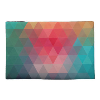 Red Blue Teal Geometric Tiangles Pattern Travel Accessories Bag