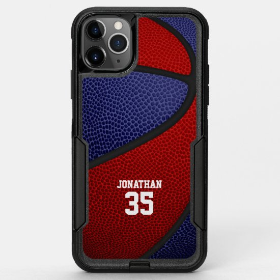 red blue team colors personalized basketball OtterBox commuter iPhone 11 pro max case