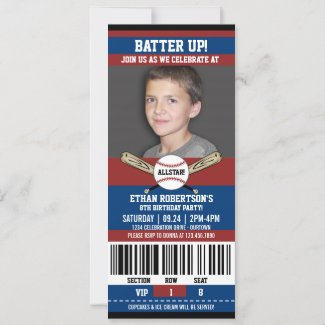 Red|Blue Ticket Style Baseball Birthday Party Invitation