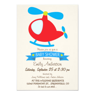 Red & Blue Toy Helicopter Baby Shower Card