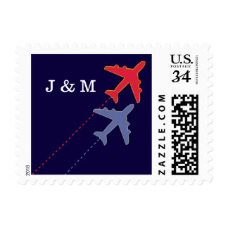 red & blue travel airplanes with initials postage