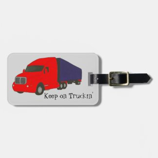 Red Blue Truck Keep on Truckin Luggage Tags