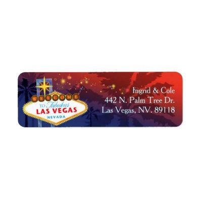 Red + Blue Unique Las Vegas Wedding Label