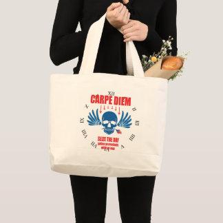 Red Blue Vintage Retro Carpe Diem. Seize the day Large Tote Bag
