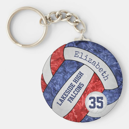 red blue volleyball keychain w school team name