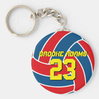 Red Blue Volleyball Sports Team USA Keychain