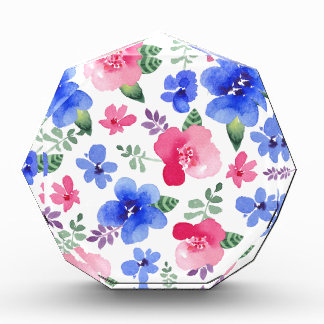 Red & Blue Watercolor Floral Pattern Award