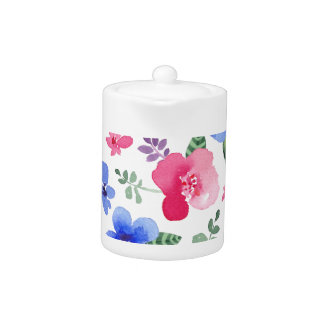 Red & Blue Watercolor Floral Pattern Teapot
