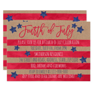 Red Blue Watercolor Stripes Kraft 4th Of July Card at Zazzle