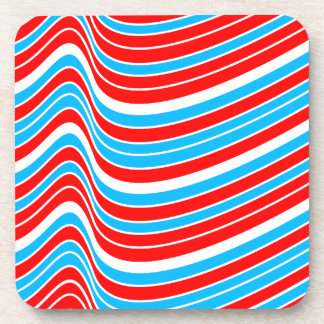 Red Blue Wave Pattern Drink Coaster