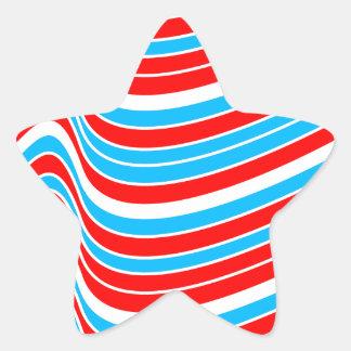Red Blue Wave Pattern Star Sticker