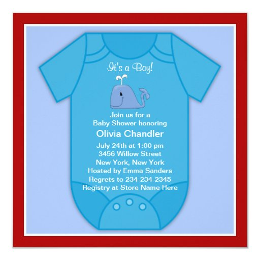 red blue whale baby shower square paper invitation card