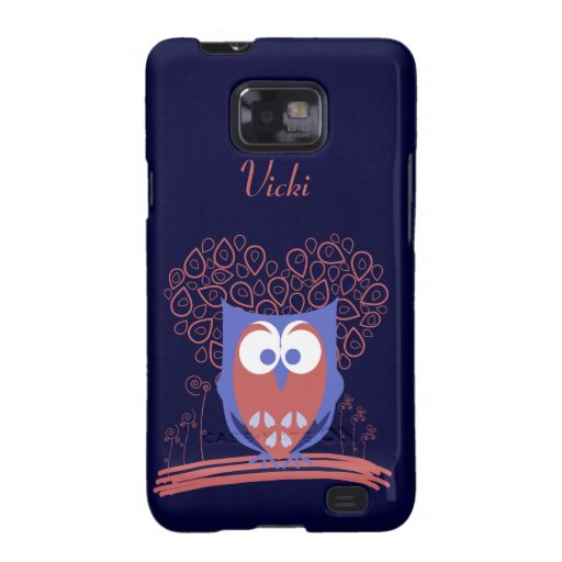 Red Blue Whimsical Cute Owl Samsung Galaxy S2 Case