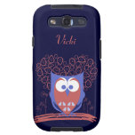 Red Blue Whimsical Cute Owl Samsung Galaxy S3 Case