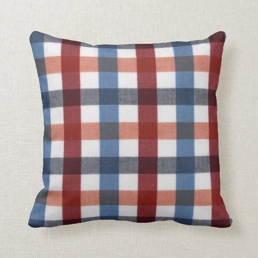 Red blue white and orange tartan throw pillow zazzle for Red and blue pillows