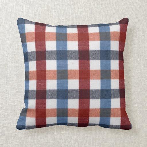 Red, blue, white and orange tartan throw pillow Zazzle