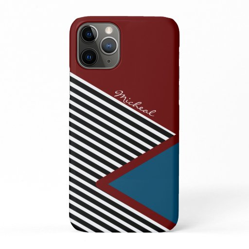 red blue white black stripes pattern iPhone 11 pro case