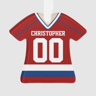 Red/Blue/White Custom Hockey Jersey Ornament