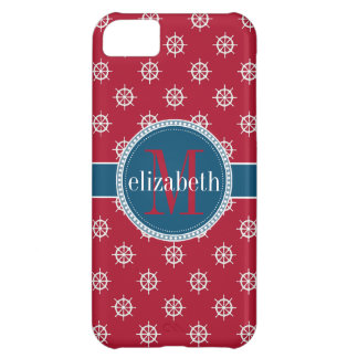 Red Blue White Nautical Ship Wheels Monogram Cover For iPhone 5C