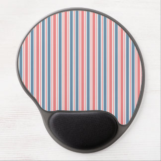 Red Blue White Stripes Pattern Gel Mouse Mat
