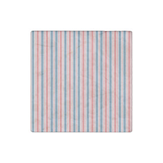 Red Blue White Stripes Pattern Stone Magnet