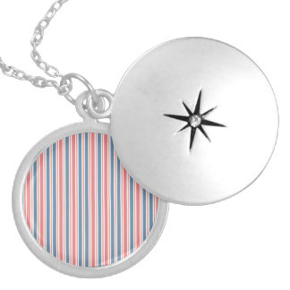 Red Blue White Stripes Pattern Lockets