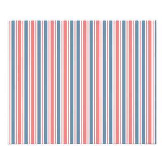 Red Blue White Stripes Pattern Photo Print