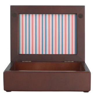 Red Blue White Stripes Pattern Keepsake Box