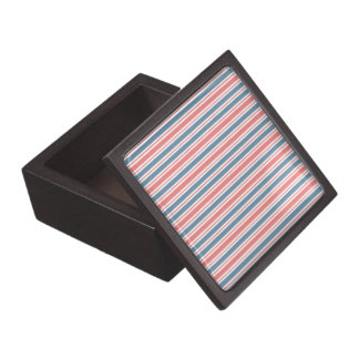 Red Blue White Stripes Pattern Premium Keepsake Box