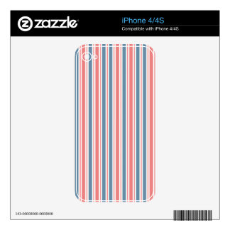 Red Blue White Stripes Pattern iPhone 4 Decals