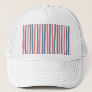 Red Blue White Stripes Pattern Trucker Hat
