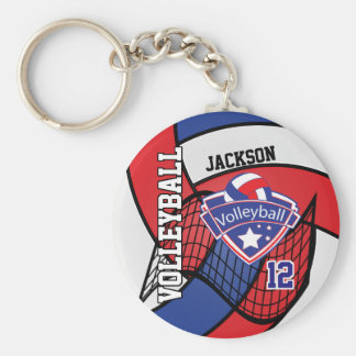Red, Blue & White Volleyball Design Keychain