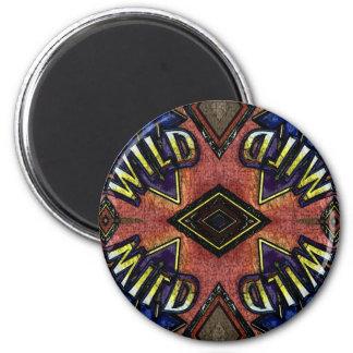 "Red Blue ""Wild"" Card Funky Design Magnet"