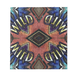 """Red Blue """"Wild"""" Card Funky Design Notepad"""