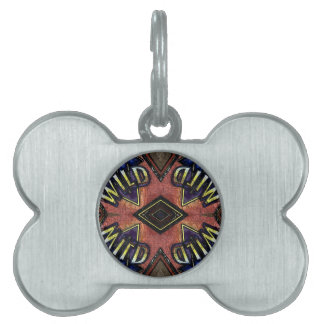 "Red Blue ""Wild"" Card Funky Design Pet Tag"