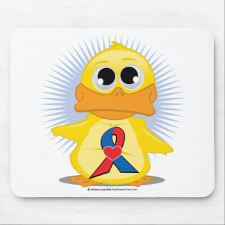 Red & Blue with  Heart Ribbon Duck Mouse Pad
