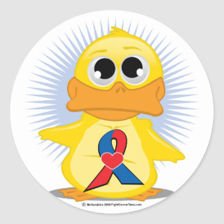 Red & Blue with  Heart Ribbon Duck Classic Round Sticker