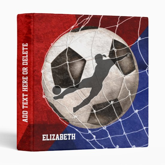 Red blue women's soccer player kicking goal binder