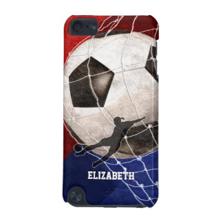 Red blue women's soccer player kicking goal iPod touch (5th generation) case
