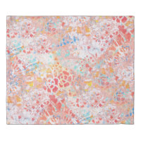 Red Blue Yellow Abstract Contemporary Monoprint Duvet Cover