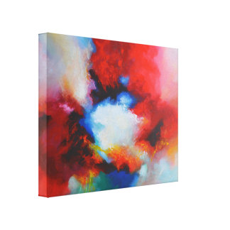 Red Blue Yellow Abstract Expressionism Painting Canvas Print