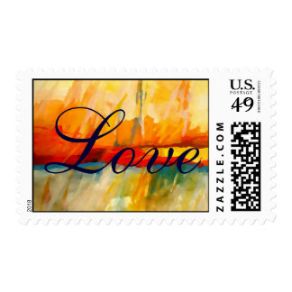 Red Blue Yellow Abstract Love Wedding Postage