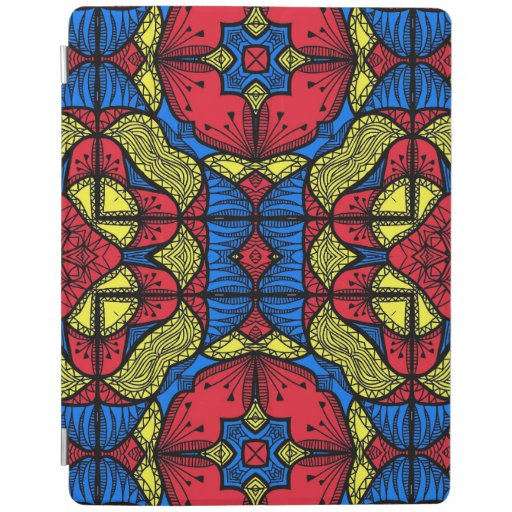 Red Blue Yellow African Tribal Mosaic Pattern iPad Smart Cover