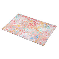 Red Blue Yellow Floral Abstract Painted Design Placemat