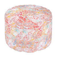 Red Blue Yellow Floral Abstract Painted Design Pouf