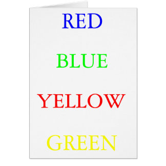 Red Blue Yellow Green Card